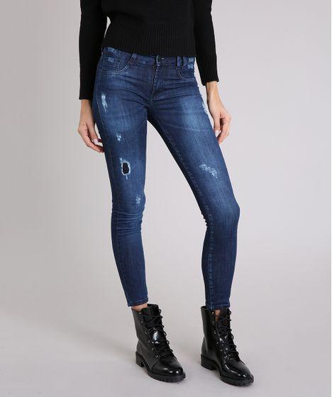815dae43d Calça Jeans Feminina Sawary Jegging com Puídos Azul Escuro - cea