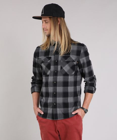 Camisa-Masculina-Xadrez-de-Flanela-Manga-Longa-Preta-8863639-Preto_1