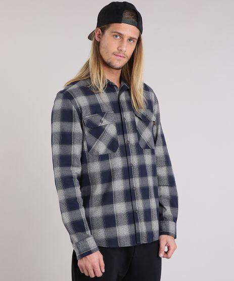 Camisa-Masculina-Xadrez-de-Flanela-Manga-Longa-Azul-Marinho-8863639-Azul_Marinho_1
