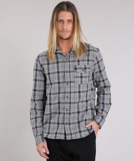 Camisa-Masculina-Xadrez-Manga-Longa-Cinza-9117426-Cinza_1
