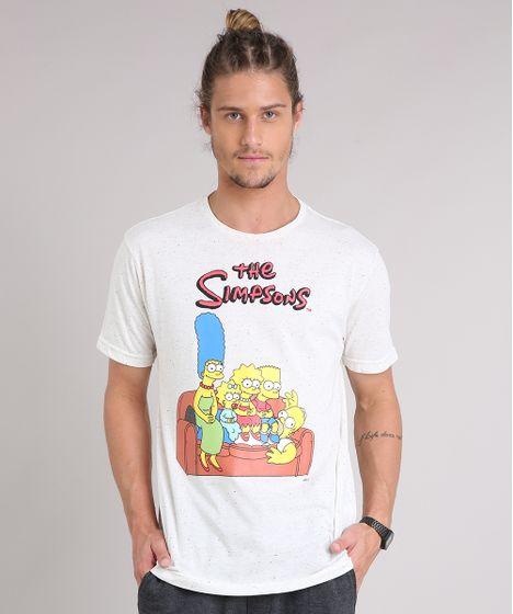c071ea741 Camiseta Masculina Os Simpsons Manga Curta Gola Careca Off White - cea