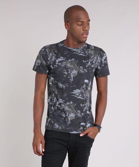 Camiseta-Masculina-Slim-Fit-Estampada-de-Tigres-Manga-Curta-Gola-Careca-Preta-9164488-Preto_1