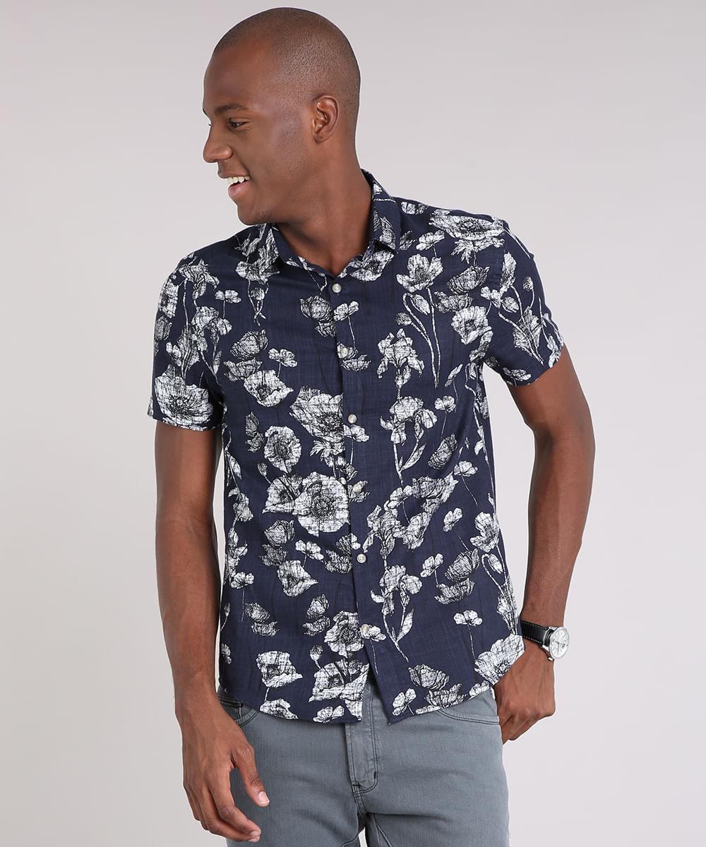 f765fbb27 Camisa Masculina Estampada Floral Manga Curta Azul Marinho - cea