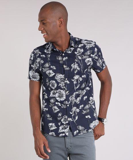 Camisa-Masculina-Estampada-Floral-Manga-Curta-Azul-Marinho-9170815-Azul_Marinho_1