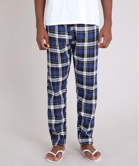 ce1f2893d Calça de Pijama Masculino em Flanela Xadrez Azul Marinho - cea