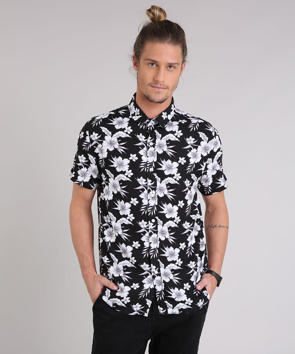 ... Camisa-Masculina-Estampada-Floral-Manga-Curta-Preta-9180322- 33e7be4263