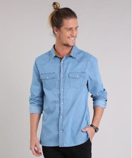 779c6ec9617a8 ... Azul Médio · consultar em lojas. c-a. Camisa-Jeans -Masculina-com-Recortes-em-Suede-Manga-