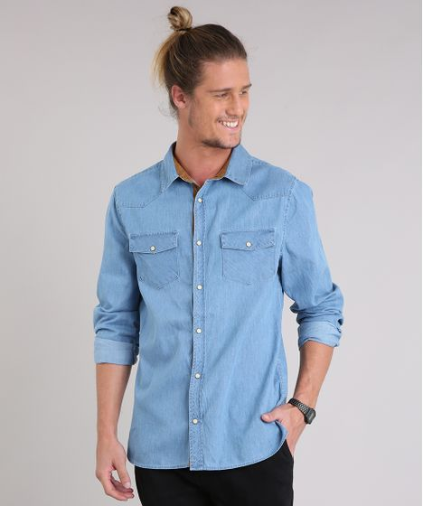 41a5c935e9c09b Camisa Jeans Masculina com Recortes em Suede Manga Longa Azul Claro ...
