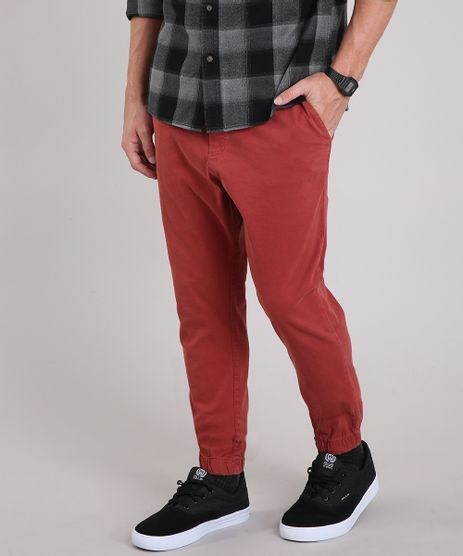 Calca-Masculina-Jogger-com-Bolsos--Vermelha-9187207-Vermelho_1