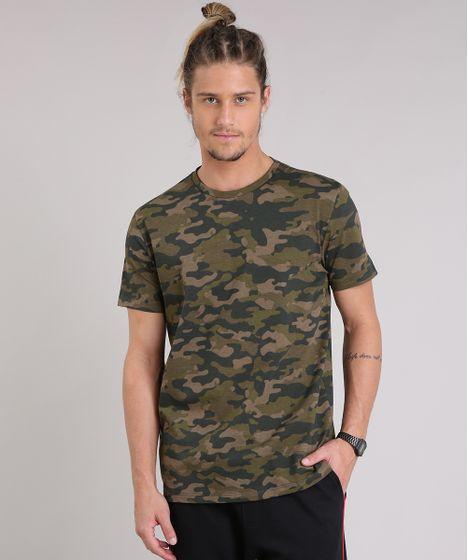 Camiseta Masculina Estampada Camuflada Manga Curta Gola Careca Verde ... 2634f1059f7
