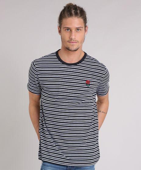 Camiseta-Masculina-Listrada-com-Bordado-Manga-Curta-Gola-Careca-Preta-9210879-Preto_1