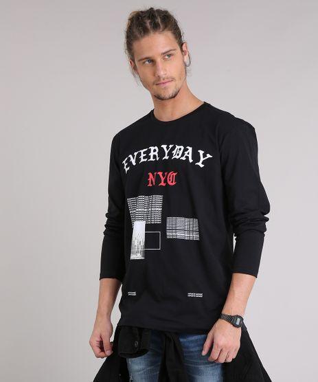 Camiseta-Masculina--Everyday--Manga-Longa-Gola-Careca-Preta-9204243-Preto_1