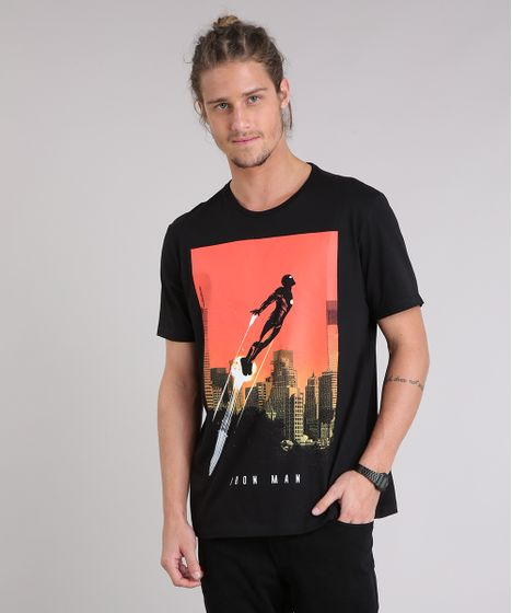 0d26fed7c0 Camiseta Masculina Homem de Ferro Manga Curta Gola Careca Preta - cea