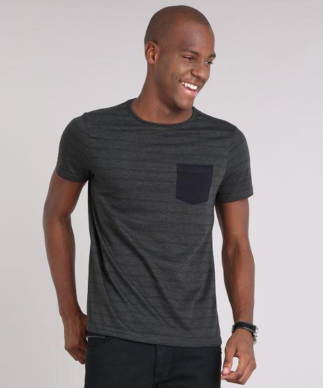 Camiseta-Masculina-Slim-Fit-Listrada-com-Bolso-Manga-Curta-Gola-Careca-em-Algodao---Sustentavel-Verde-8709075-Verde_1