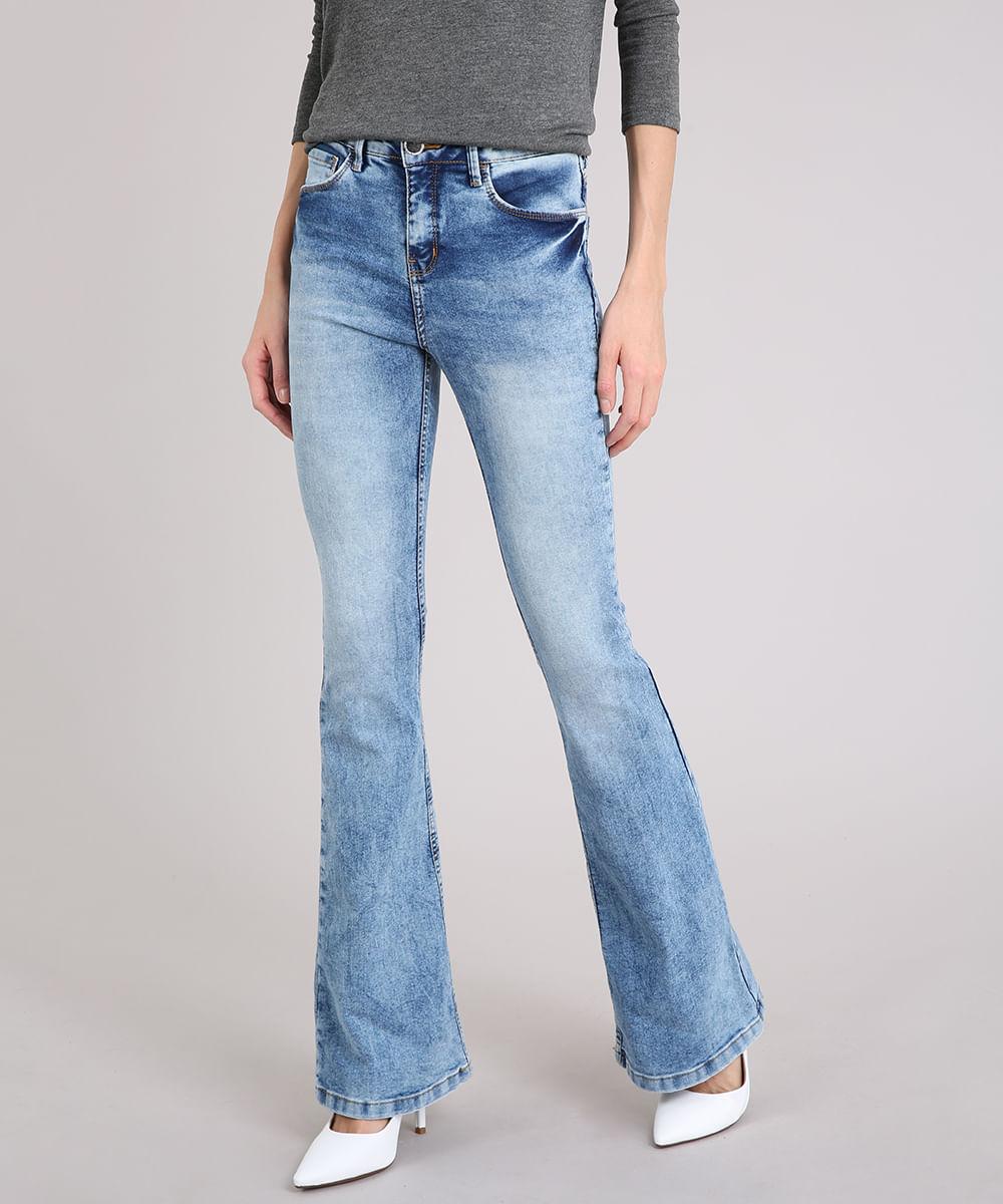 e4570a8b5 ... Calca-Jeans-Feminina-Flare-Marmorizada-Azul-Claro-9071240-