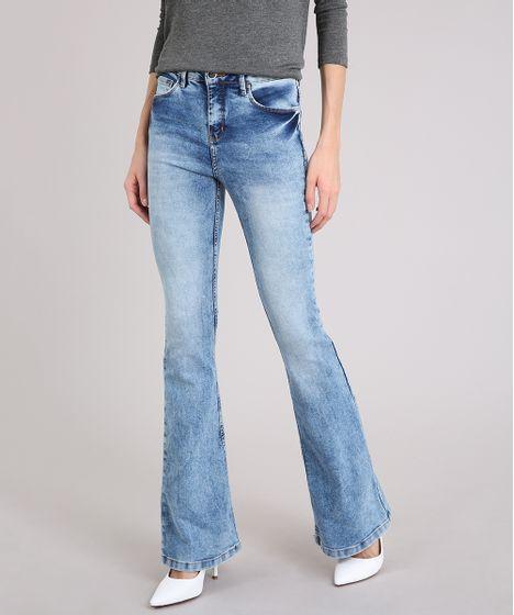 7bf62c3eb Calca-Jeans-Feminina-Flare-Marmorizada-Azul-Claro-9071240- ...