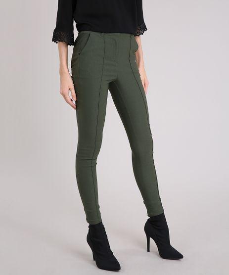 Calca-Feminina-Skinny-Cintura-Alta-Verde-Militar-8997143-Verde_Militar_1