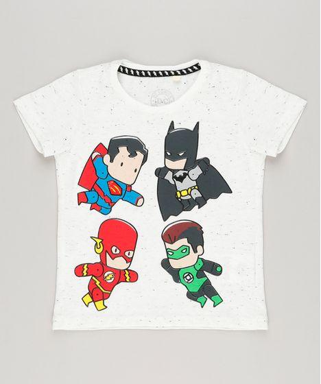 Camiseta Infantil Heróis Liga da Justiça Manga Curta Gola Careca Off White  - cea e130fec78121c