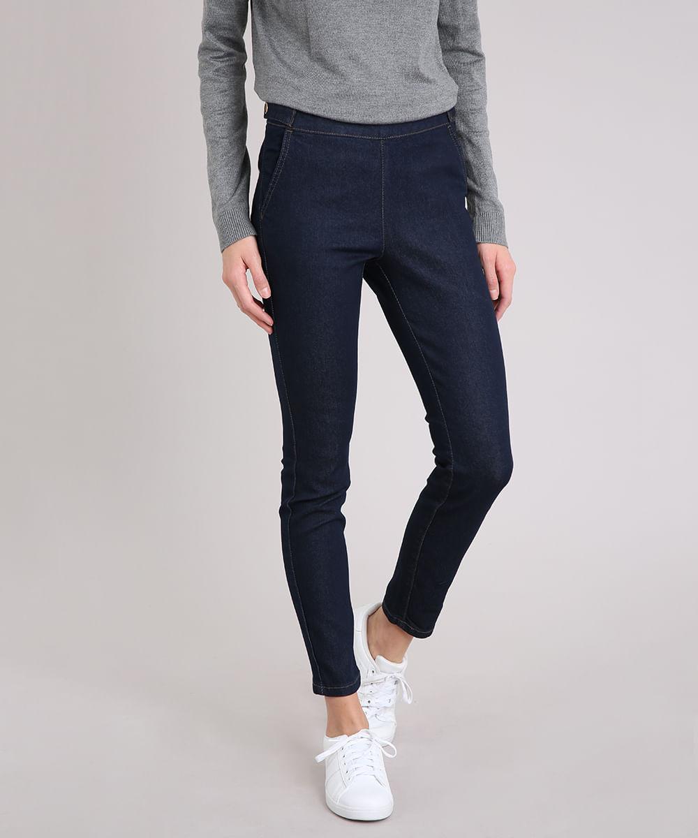 9ab2d0d4f Calça Jeans Feminina Cigarrete com Botões Cintura Alta Azul Escuro - cea