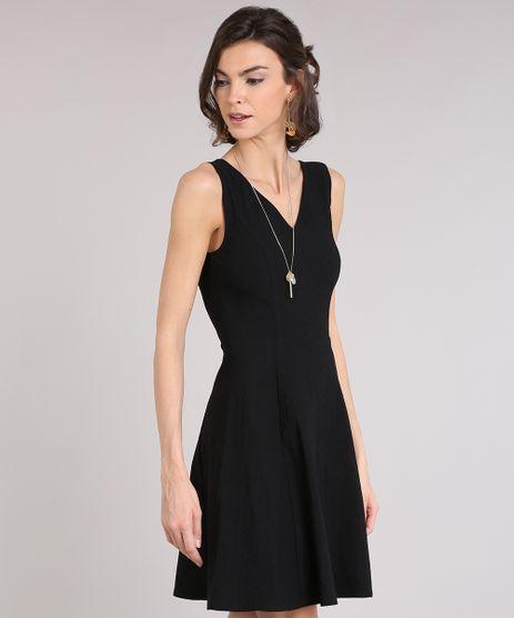 Vestido-Feminino-em-Jacquard-Curto-Sem-Manga-Decote-V-Preto-9035635-Preto_1