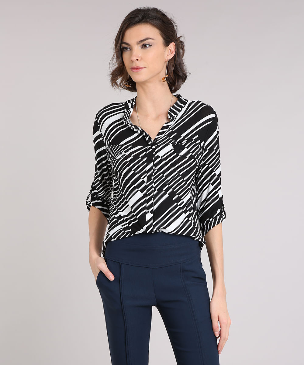 7d4efee0b Camisa Feminina Estampada Geométrica Manga Longa Decote Redondo Preta.  9225835-Preto