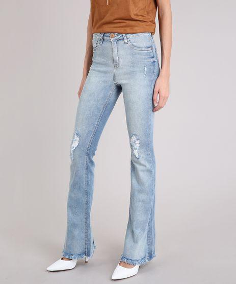 Calca-Jeans-Feminina-Flare-com-Puidos-e-Fenda-Azul-Claro-9210074-Azul_Claro_1