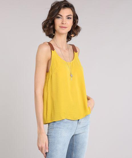 Regata-Feminina-com-Recorte-Decote-Redondo-Amarela-9082736-Amarelo_1