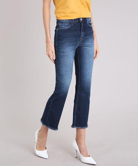 98d365af9 Calça Jeans Feminina Cropped Flare Cintura Alta Azul Escuro - ceacollections