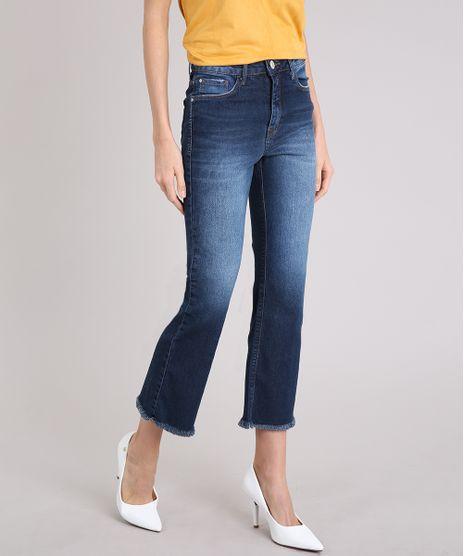 Calca-Jeans-Feminina-Cropped-Flare-Cintura-Alta-Azul-Escuro-9222215-Azul_Escuro_1