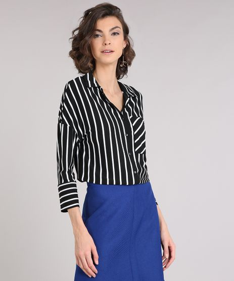 Camisa-Feminina-Listrada-com-Bolso-Manga-Longa-Preta-9213570-Preto_1