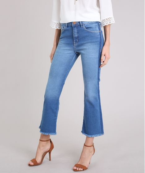 e489c8d10e Calça Jeans Feminina Cropped Flare Cintura Alta Azul Médio - cea