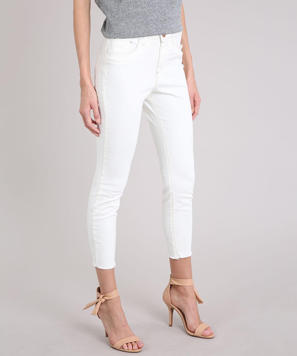 888412738 Calça Feminina Skinny Cropped Cintura Alta Off White - ceacollections