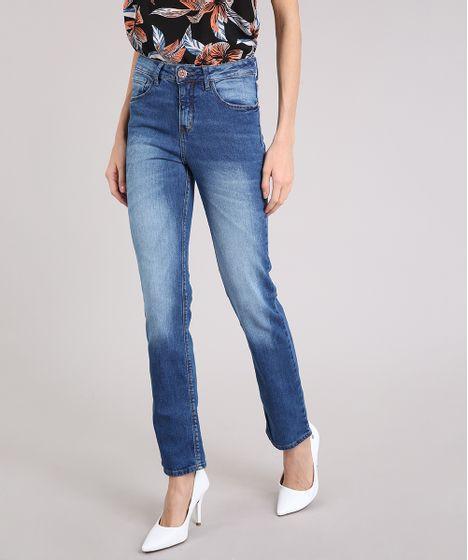 22b4c1271 Calça Jeans Feminina Reta Cintura Alta Azul Médio - cea
