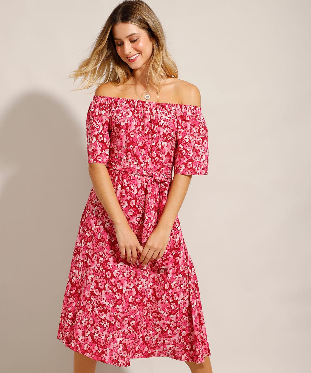 Vestido Midi Ombro a Ombro em Viscose Estampado Floral Vermelho