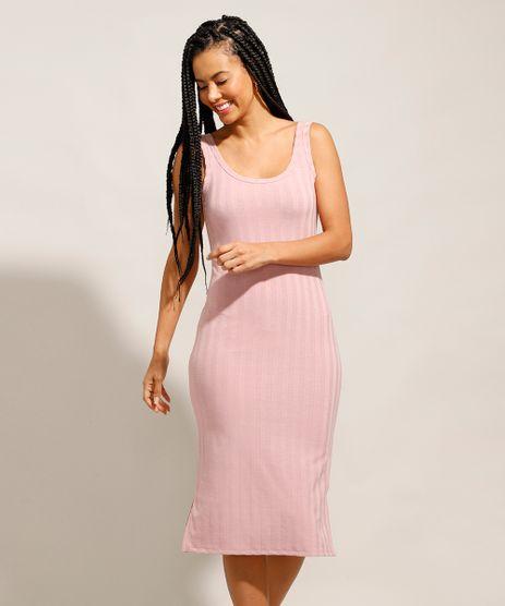 Vestido-Canelado-Basico-com-Fendas-Midi-Alca-Larga-Rose-9987673-Rose_1