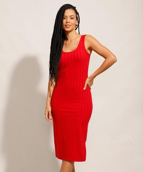 Vestido-Canelado-Basico-com-Fendas-Midi-Alca-Larga-Vermelho-9987673-Vermelho_1