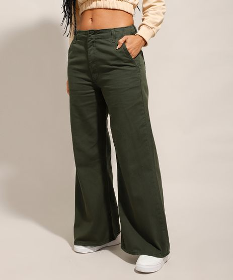 Calca-Wide-Pantalona-de-Sarja-Cintura-Media-Verde-Militar-9993776-Verde_Militar_1