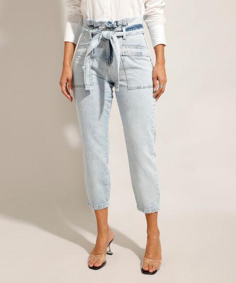 Calca-Tal-Mae-Tal-Filha-Clochard-Jeans-Cintura-Super-Alta-com-Faixa-Para-Amarrar-Azul-Claro-9992008-Azul_Claro_1