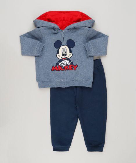 Conjunto infantil de Blusão Mickey + Calça em Moletom Azul Marinho - cea 692f12d76ee