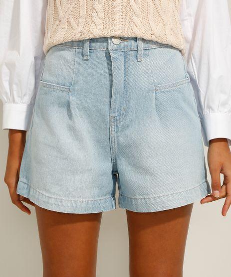 Bermuda-Jeans-Cintura-Super-Alta-com-Prega-Azul-Claro-9991271-Azul_Claro_1