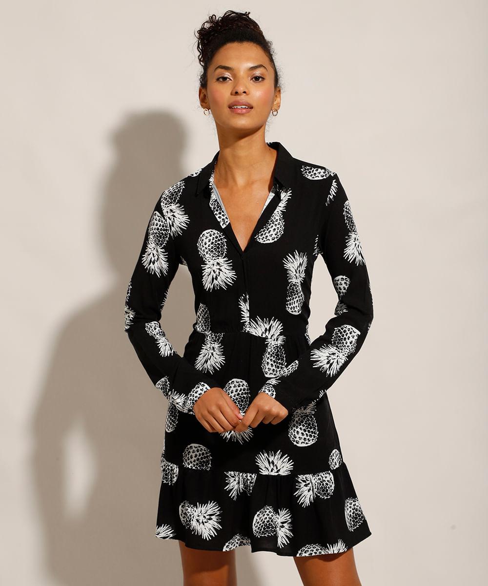 Vestido Chemise de Viscose Estampado de Abacaxis Curto Manga Longa Preto