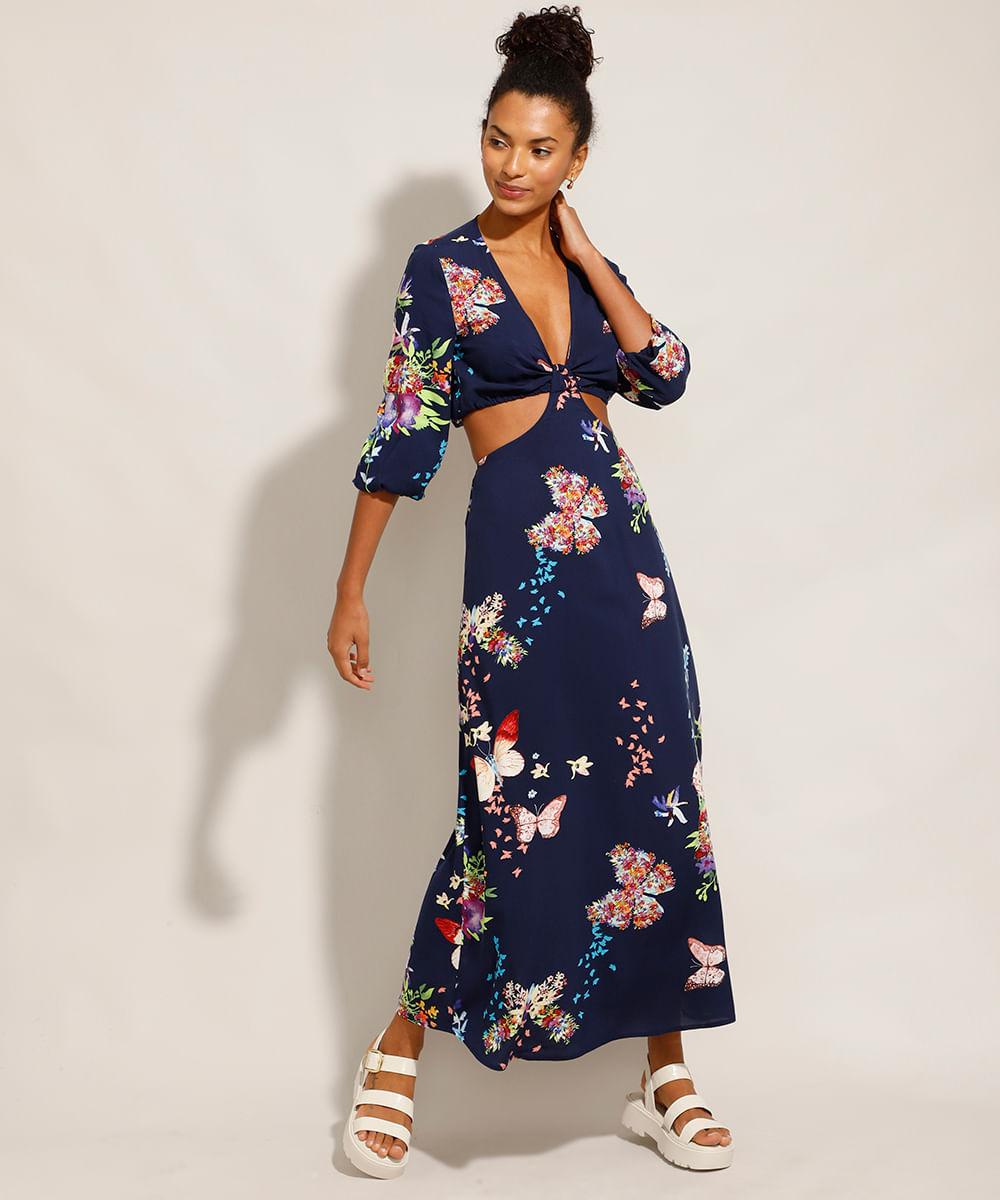 Vestido de Viscose Estampado Floral com Vazado Longo Manga Bufante Azul Marinho