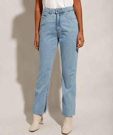 Calca-Reta-Jeans-com-Fendas-Cintura-Super-Alta--Azul-Claro-9991739-Azul_Claro_1