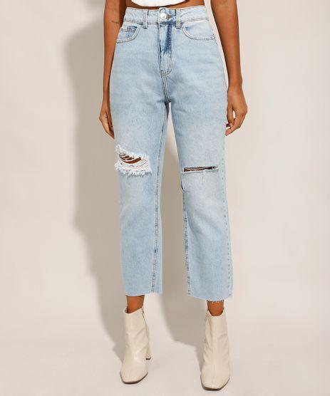Calca-Reta-Jeans-Tal-Mae-Tal-Filha-com-Rasgos-Cintura-Super-Alta-Azul-Claro-9991737-Azul_Claro_1