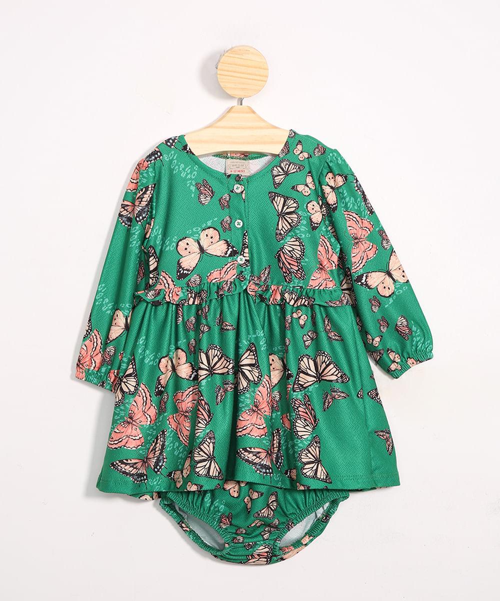 Vestido Infantil Tal Mãe Tal Filha Estampado de Borboletas + Calcinha Verde