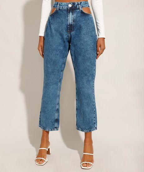 Calca-Jeans-Feminina-Reta-Cintura-Alta-Marmorizada-Cut-Out-Azul-Medio-9971544-Azul_Medio_1