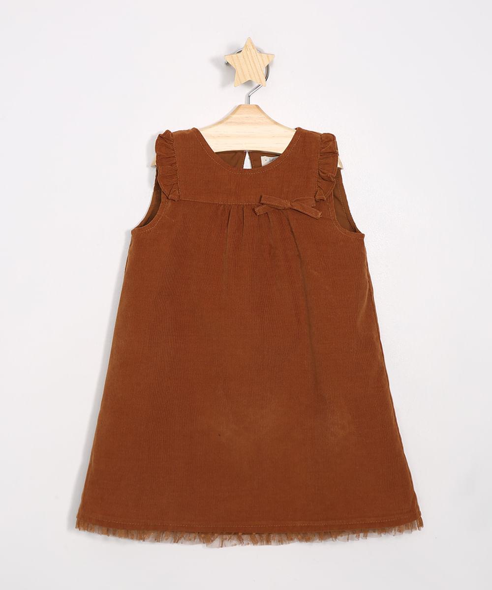 Vestido Infantil com Tule Sem Manga Caramelo