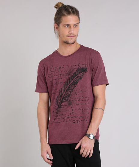 Camiseta-Masculina-com-Estampa-de-Pena-Manga-Curta-Gola-Careca-Vinho-8757549-Vinho_1