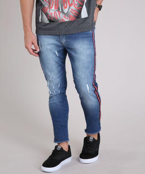 Calca-Jeans-Masculina-Skinny-Cropped-com-Faixa-Lateral-em-Algodao---Sustentavel-Azul-Escuro-9211044-Azul_Escuro_1