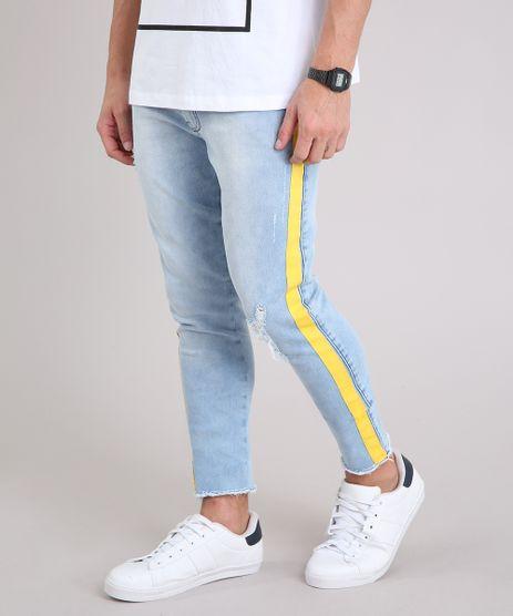 Calca-Jeans-Masculina-Skinny-Cropped-com-Faixa-Lateral-em-Algodao---Sustentavel-Azul-Claro-9211043-Azul_Claro_1